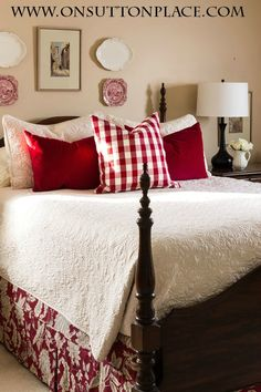 3 Easy Ways to Style a Bed - On Sutton Place - Home Design Red Accent Bedroom, Red Bedroom Decor, Cozy Bedroom, Master Bedroom, Bedroom Ideas, Bedroom Designs, Trendy Bedroom, French Country Bedrooms, Bedroom Country