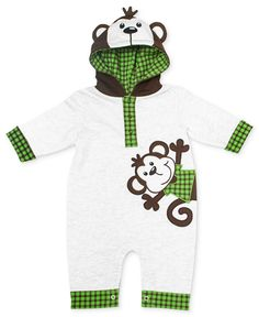 My little monkey: Baby Essentials Baby One-Piece, Baby Boys Monkey Hooded Coverall - Kids Baby Boy (0-24 months) - Macy's