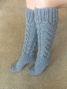 Hand Knit Wool Gray Knee Socks Handknitted Socks от GrigorevaK