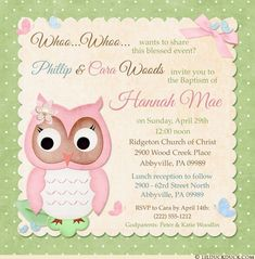 Sweet baby owl Baptism owl celebrates religious event in cute hoot style! For your own baby owl Baptism invitation, whimsical polka dots in pastel colors