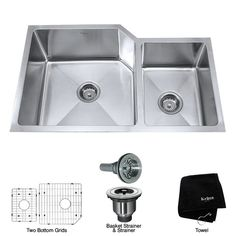 """Kraus KHU123-32 32"""" Undermount 70/30 Double Bowl 16 Gauge Stainless Steel Kitchen Sink"""