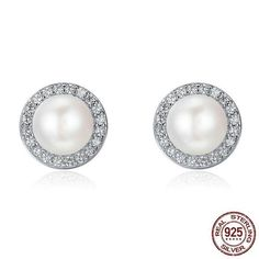 0f1e90884 BAMOER 925 Sterling Silver Classic Round Sparkling CZ Fresh Water Pearl Stud  Earrings for Women Sterling Silver Jewelry SCE122