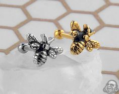 Bumble Bee Barbell Body Piercing, Piercings, Body Jewelry, Jewellery, Tragus Jewelry, Piercing Ideas, Body Mods, Barbell, Gauges