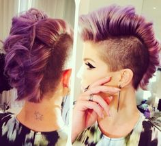 Kelly Osbourne sports purple dyed mohawk hairstyle - 18 June.