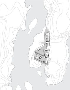 Lille Arøya,Site Plan | The site consist of several small islands a boat ride away from Helgeroa.The islands are all relatively small with large height differences and exposed rock surfaces. Across narrow waterways hand built bridges connect the islands to create a continuous landscape, where the totality of the place becomes visible and inhabitable.