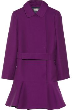 Miu Miu | Dropped-waist purple gabardine coat | NET-A-PORTER.COM