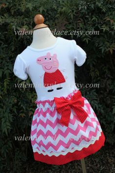 Super Cute Peppa Pig Skirt and Shirt by Valentinasplace on Etsy, $50.00