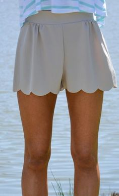Subtle Scallop Trim Shorts in Taupe