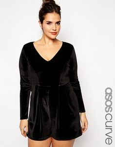 4f259e4f130 ASOS Curve Plus Size Romper In Velvet With Deep Plunge Velvet Playsuit