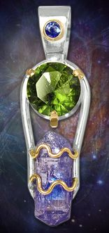 Gold and Silver Faceted Moldavite Pendant with Raw Tanzanite Crystal