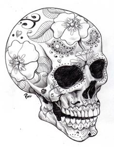 Skull Drawings | sugar skull ping by pingriff traditional art drawings macabre horror ...