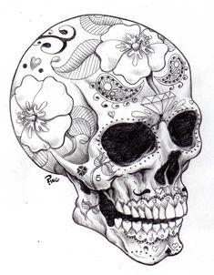 Skull Drawings | sugar skull ping by pingriff traditional art drawings macabre horror ...