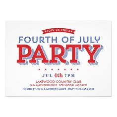 MODERN STARS & STRIPES 4TH OF JULY PARTY PERSONALIZED INVITATIONS