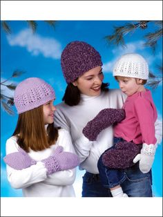 Crochet - Accessory Patterns - Hats, Hoods & Head Warmers - Mother-Daughter Hats & Mittens