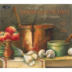 "Susan Winget American Kitchen Wall Calendar: Susan Winget's ""American Kitchen"" pairs seasonal recipes with complimenting art arraignments.  $15.99  http://calendars.com/Assorted-Folk-Art/Susan-Winget-American-Kitchen-2013-Wall-Calendar/prod201300001764/?categoryId=cat00033=cat00033#"