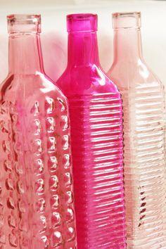 Pink glass jars