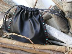 Leather Pouch,Beaded Bag,Pouch bag Cosmetic Bag,Coin Pouch,Keepsake Holder,Jewelry Bag,Marble Bag,Women's Gifts,Healing Stones,Medicine Bag Black Leather Bags, Leather Pouch, Marble Bag, Mens Leather Necklace, Bag Display, Medicine Bag, Drawstring Pouch, Pouch Bag, Pouches