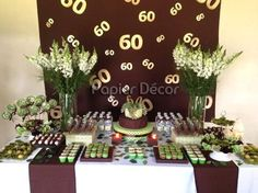 Imagem: Pinterest Adult Birthday Party, 60th Birthday Party, 50th Party, Mom Birthday, Cake Table Decorations, Diy Party Decorations, Milestone Birthdays, Homemade Crafts, Holidays And Events