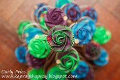 Peacock coloured cupcakes - for my mehndi