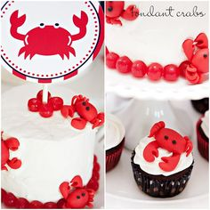 crab shack party {TomKat Studio printables}...mini cake with fondant crabs, cherry sour candies and paper topper