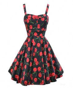 9753c02ae2 ILover Women s 1950s Vintage Rockabilly Garden Party Swing Cherry Harness  Dress  Amazon.co.