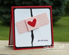 "Jessica Lamb posted a cute get well card on her blog. I am thinking this would be great for a child that gets one of those ""summer boo-boos"" bike riding or roller skating. Card Stock: Real Red, Basic Black, Whisper White, Pretty in Pink Punches: corner rounder, heart Big Shot Embossing: Perfect Polka Dots Other: Big Shot, paper trimmer, adhesive, Stampin' Dimensionals"