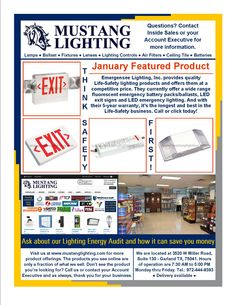 Our January Featured Product, Emergensee Lighting, Inc., LED exit signs, LED emergency lighting and battery back-up.