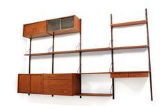 60er Teak Regal-System l danish PS Moblder teak wall unit l Aufbau wie Poul Cadovius für Cado l so aufgebaut ca. 320x200cm