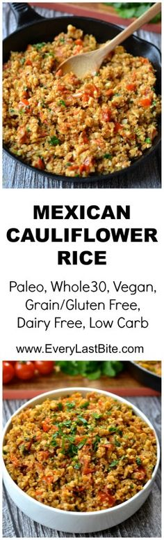 This Low Carb Mexican Cauliflower Rice is so easy to make and full of flavour. It is the perfect base for any Mexican dish or wonderful on its own topped with salsa and avocado. (Grain/Gluten Free, Dairy Free, Paleo, Whole30, Vegan, SCD Legal)
