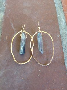 QUARTZ hammered 14k gold hoop infinity circle earrings. by Charnae
