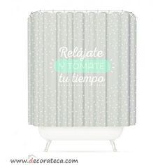 Cortinas de baño originales con frases: Relájate y tómate tu tiempo. Cortinas de ducha gris - mint. WWW.DECORATECA.COM
