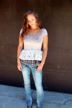 REVIVAL Upcycled Shirt, Shabby Chic, Junk Gypsy Style, Country Girl, Farm Girl