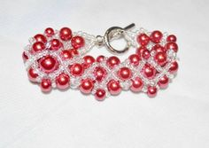 Bead Woven Glass Pearl and Seed Bead Bracelet by IgalardStore