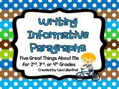 """Informative Writing / Back to School - This packet makes a great """"Back to School"""" project that students could share to get to know each other. Students will write about great character qualities or skills they possess and create a """"Five Great Things About Me"""" book."""