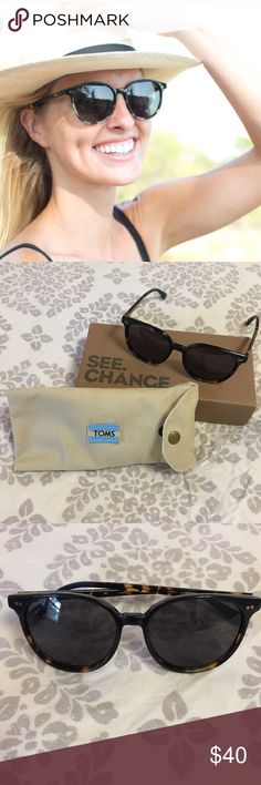 TOMS Bellini Sunglasses Brand new Bellini sunglasses from TOMS. Black Tortoise shell with dark blue accent. Classic and fun sunglasses. Perfect condition. Comes with original box and glasses case. Open to offers. TOMS Accessories Sunglasses