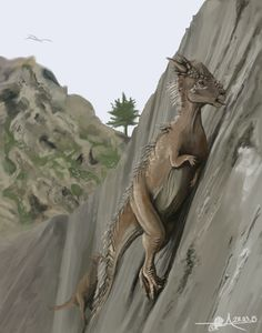 thewoodparable:Meso Cordilleran Highland Stygimoloch climb nearly 90 degree angles to lick salt deposits off of the mountainside. They crave that mineral.