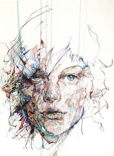 "UK-based illustrator Carne Griffiths creates these striking portraits with uncommon mediums such as tea, brandy, vodka, whiskey, graphite and calligraphy ink. His drawings most frequently explore human and floral forms, as says he's ""fascinated by the flow of line and the 'invisible lines' that connect us to the natural world."""