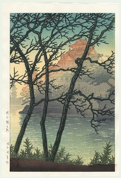 Hasui Kawase détail - HK72 - Matin au château Okayam - 1955 - HK72