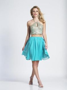 Dave & Johnny – 3635 Two Piece Metallic Lace Racerback Cocktail Dress - Homecoming Dresses Turquoise Homecoming Dresses, Turquoise Dress, Prom Dresses Two Piece, Two Piece Dress, Off Shoulder Fashion, Perfect Prom Dress, A Line Gown, Prom Dresses Online, Sleeveless Crop Top