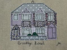 Brooklyn Road, Chatterton Village - framed freestyle machine embroidery