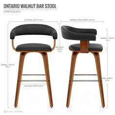 Chaise de Bar Faux Cuir Bois - Ontario 125E