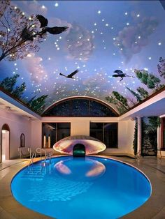 Planning on building your own indoor pools on your home? Then you will need some inspirations and ideas, let's take a look at these pictures of indoor pools below. Indoor Swimming Pools, Swimming Pool Designs, Lap Swimming, Pools Inground, Amazing Swimming Pools, Awesome Pools, Swimming Pool House, Luxury Swimming Pools, Ceiling Murals