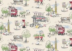 Billie Goes to Town | Cath's cheeky Sealyham Terrier, Billie, has gone 'up west' on a big London day out. Whilst there he takes in Big Ben and a London park, rides a classic Routemaster bus…and fits in a visit to a Cath Kidston shop, of course!  This distinctive print was drawn by hand | Cath Kidston AW15 |