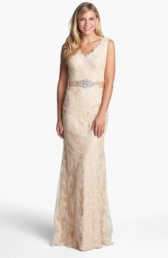 La Femme Embellished Sleeveless Lace Gown available at #Nordstrom