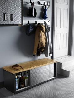 Furniture: Gladiators Garage Works Storage Bench is built with a sturdy bamboo top and heavy-duty steel frame. Its perfect for the garage Garage Remodel, Attic Remodel, Gladiator Garage Storage, Diy Storage Projects, Storage Hacks, Diy Projects, Outdoor Projects, Food Storage, Design Garage