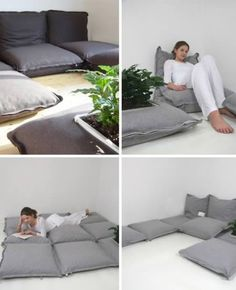 Love these floor pillows that zip together to make a couch or something akin to a mattress.