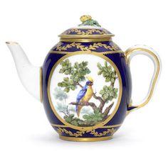 A Sèvres blue-ground teapot and cover, circa 1765