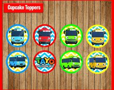 Tayo the Little Bus Toppers instant download, Printable Tayo the Little Bus party cupcakes Topper, Tayo the Little Bus cupcakes toppers