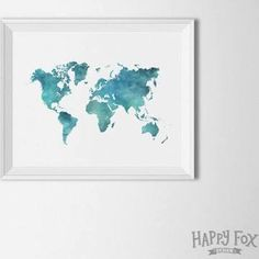 world map poster teal