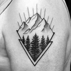 50 minimalist mountain tattoo ideas for men - outdoor landscape designs. Small Back Tattoos, Upper Back Tattoos, Back Tattoos For Guys, Moutain Tattoos, Outdoor Tattoo, Mountain Tattoo Design, Geometric Mountain Tattoo, Geometric Tattoos, Bike Tattoos